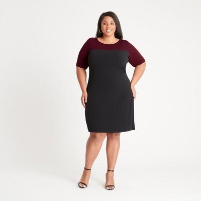 Women's Plus Color Block Elbow Sleeve Dress - Connected Apparel