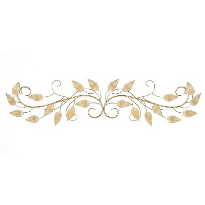 Stratton Home Decor Hand Crafted Horizontal Over the Door Wall Scroll Art in with Leaf Details and Attached Keyhole, Brushed Gold Finish