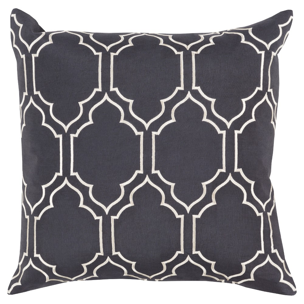 Slate (Grey) Monticello Quatrefoil Throw Pillow 18