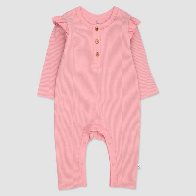 Honest Baby Girls' Organic Cotton Flutter Long Sleeve Henley Coveralls - Pink 3-6M