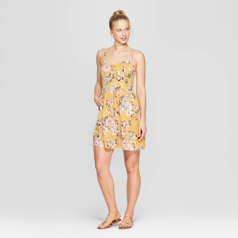 06833b84dd61 Womens Floral Print Sleeveless Sweetheart Neck Strappy Bra Cup Dress  Xhilaration Mustard Yellow L