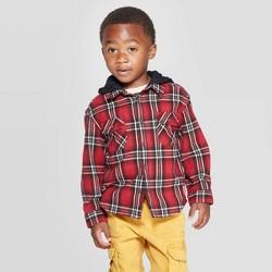 Toddler Boys' Long Sleeve Hooded Plaid Button-Down Shirt - art class™ Red