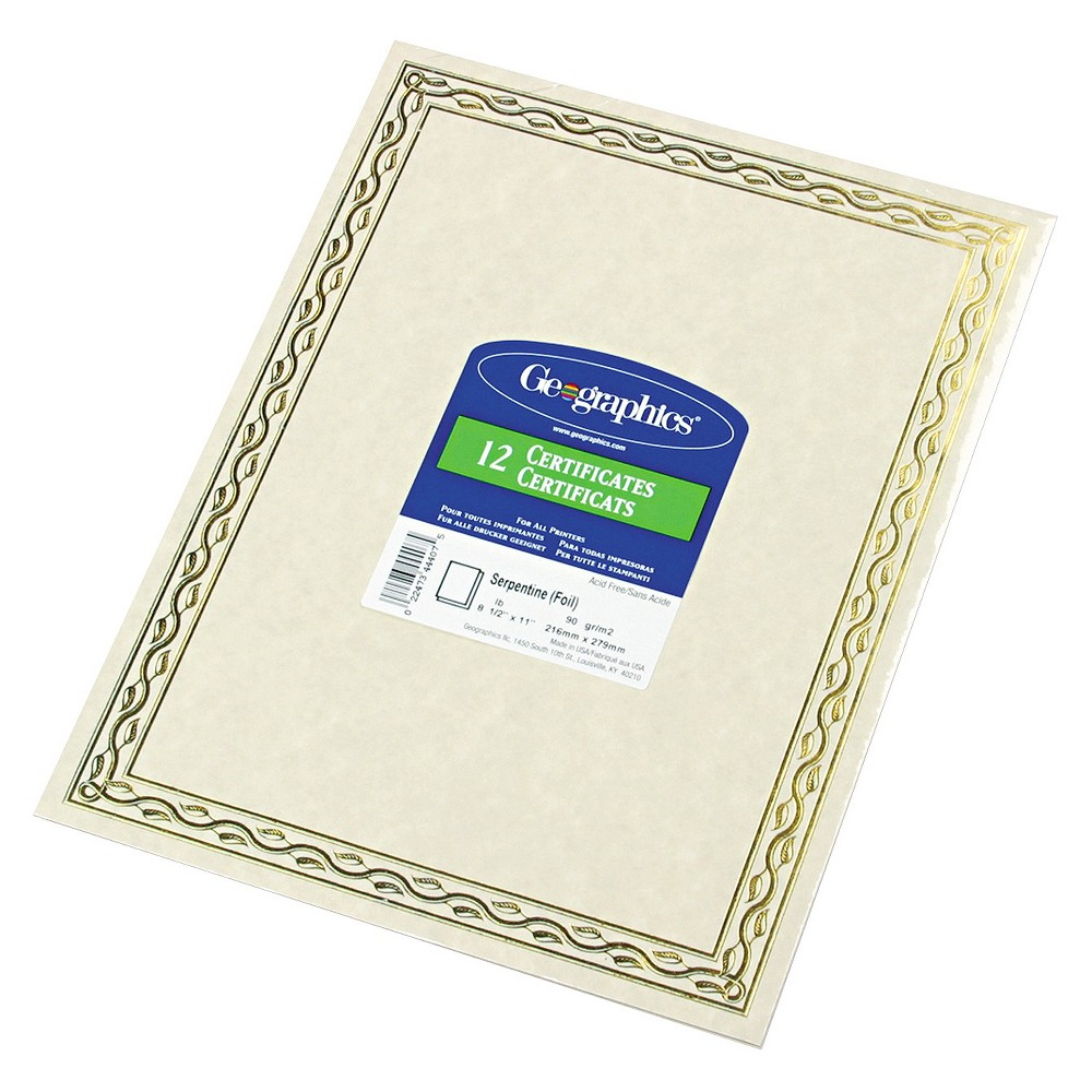 Geographics Foil Stamped Award Certificates - Gold (12 Per Pack), Off White