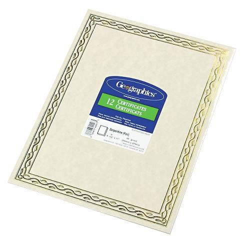 Geographics® Foil Stamped Award Certificates - Gold (12 Per Pack) - image 1 of 1