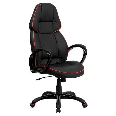 Executive Swivel Office Chair Red Pipeline Border/Black Vinyl   Flash  Furniture