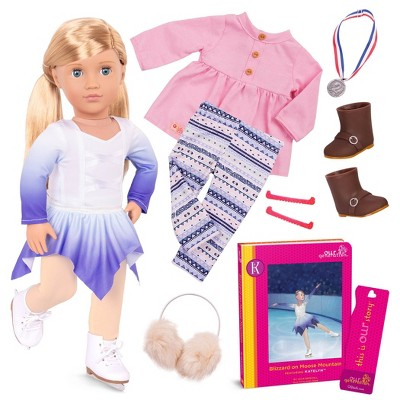 """Our Generation Katelyn with Storybook & Outfit 18"""" Posable Ice Skating Doll"""