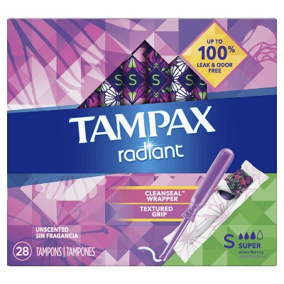 Tampax Radiant Tampons Super Absorbency Tampons- Unscented - 28ct : Target