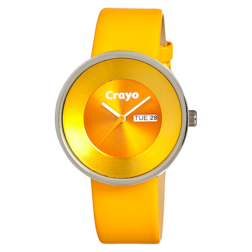 Image of Women's Crayo Button Watch with Day and Date Display - Yellow, Size: Small