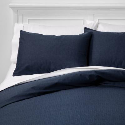 King Family Friendly Solid Duvet & Pillow Sham Set Navy - Threshold™