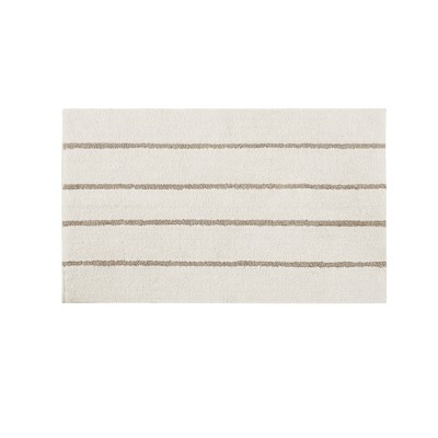 Darien Cotton Tufted Stripe Bath Rug Ivory/Khaki (24x40 )