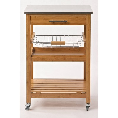 Aya Bamboo Kitchen Cart with Stainless Steel Top Natural - Boraam