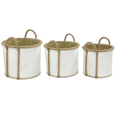 """Olivia & May 17""""x15""""x13"""" Set of 3 Dip Dyed Large Round Palm Leaf Wicker Storage Baskets White/Natural"""