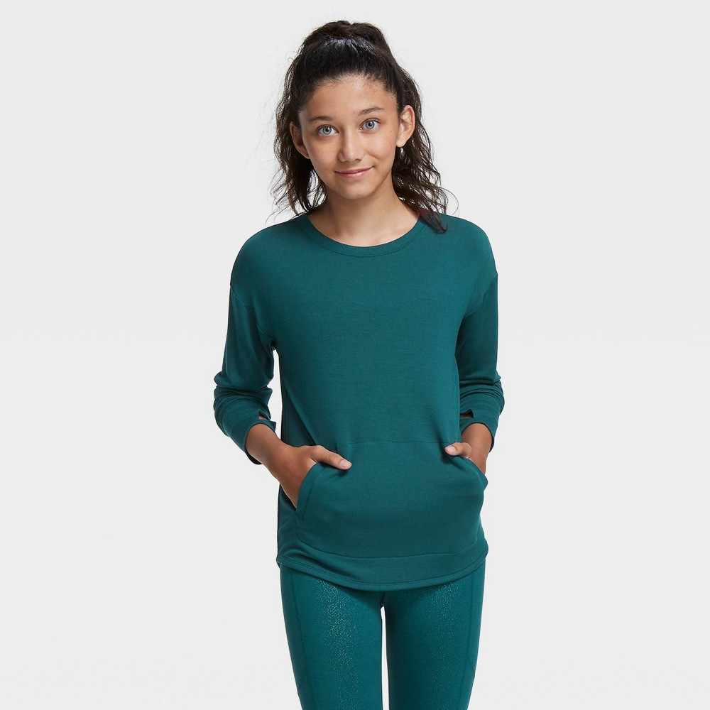 Girls' Soft French Terry Crew Sweatshirt - All in Motion Dark Teal XS, Girl's, Dark Blue was $20.0 now $14.0 (30.0% off)