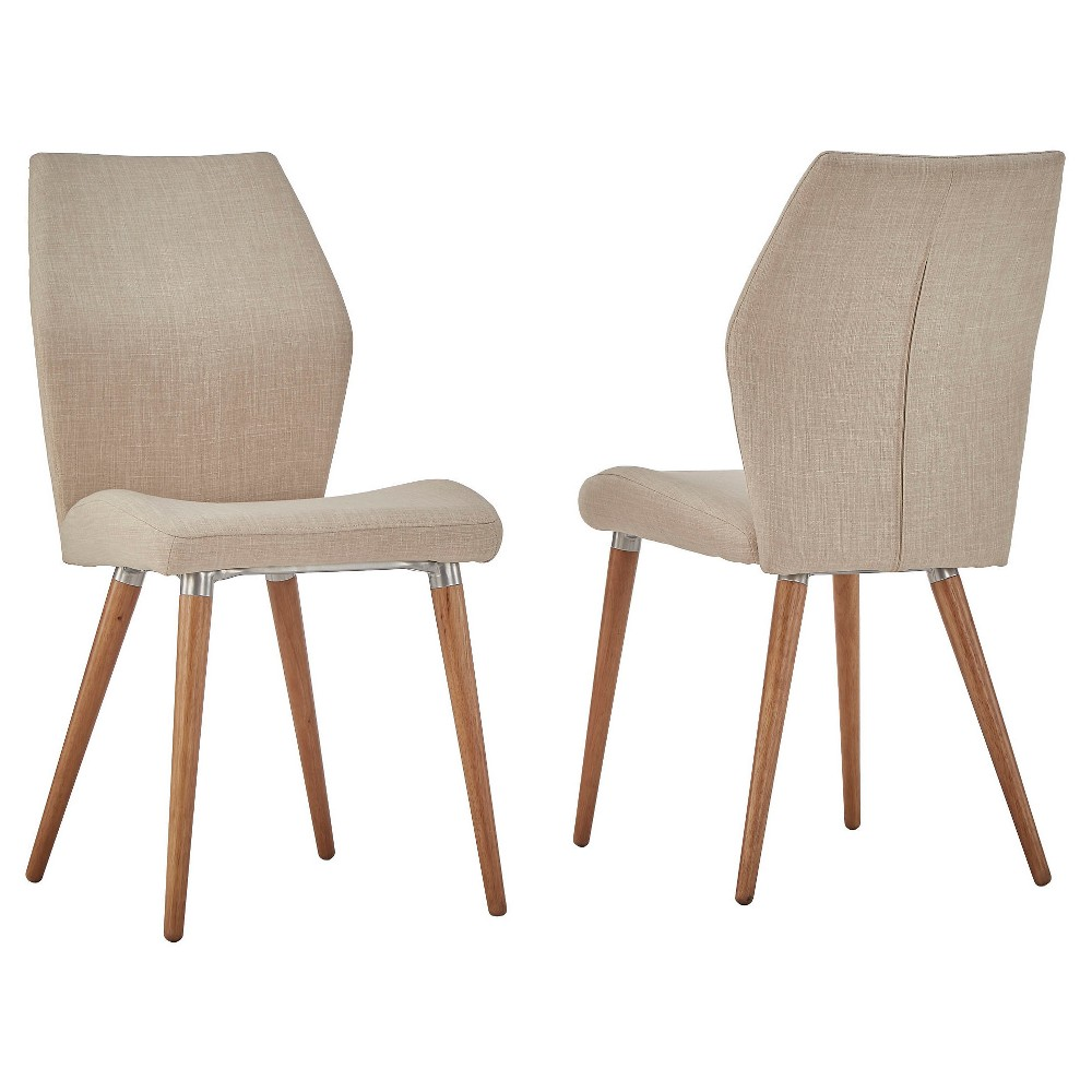 Winona Natural Mid Century Angled Chair (Set of 2) - Oatmeal - Inspire Q