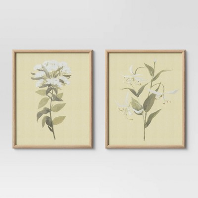 "(Set of 2) 16"" x 20"" Neutral Florals Framed Under Glass - Threshold™"