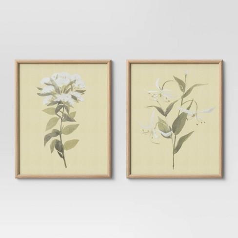 "(Set of 2) 16"" x 20"" Neutral Florals Framed Under Glass - Threshold™ - image 1 of 4"