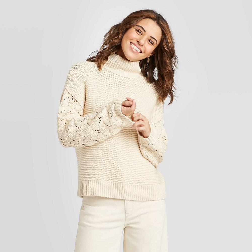 Women's Crewneck Detail Pullover Sweater - Universal Thread Cream XL, Women's, Beige was $30.0 now $21.0 (30.0% off)