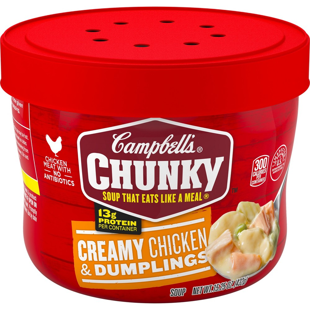 Campbells Chunky Chicken & Dumplings Soup Microwaveable Bowl 15.25oz Compare