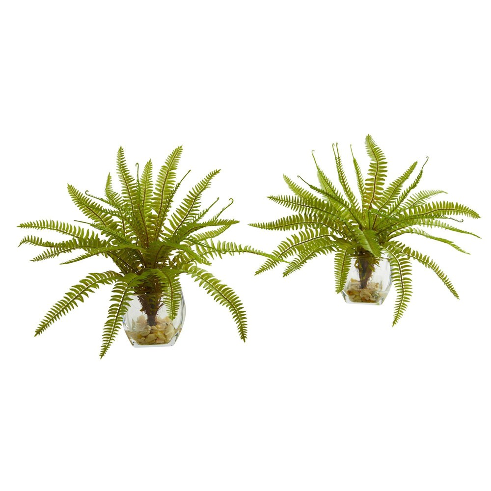 """Image of """"11"""""""" x 8"""""""" 2pc Artificial Fern Plant in Glass Vase Set Green - Nearly Natural"""""""