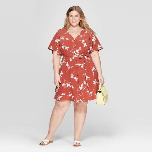 Women\'s Plus Size V-Neck Floral Print Button Front Dress - Ava & Viv ...