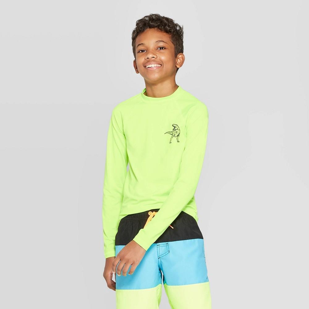 Image of Boys' Dino Print Long Sleeve Rash Guard Swim Shirt - Cat & Jack Green L, Boy's, Size: Large