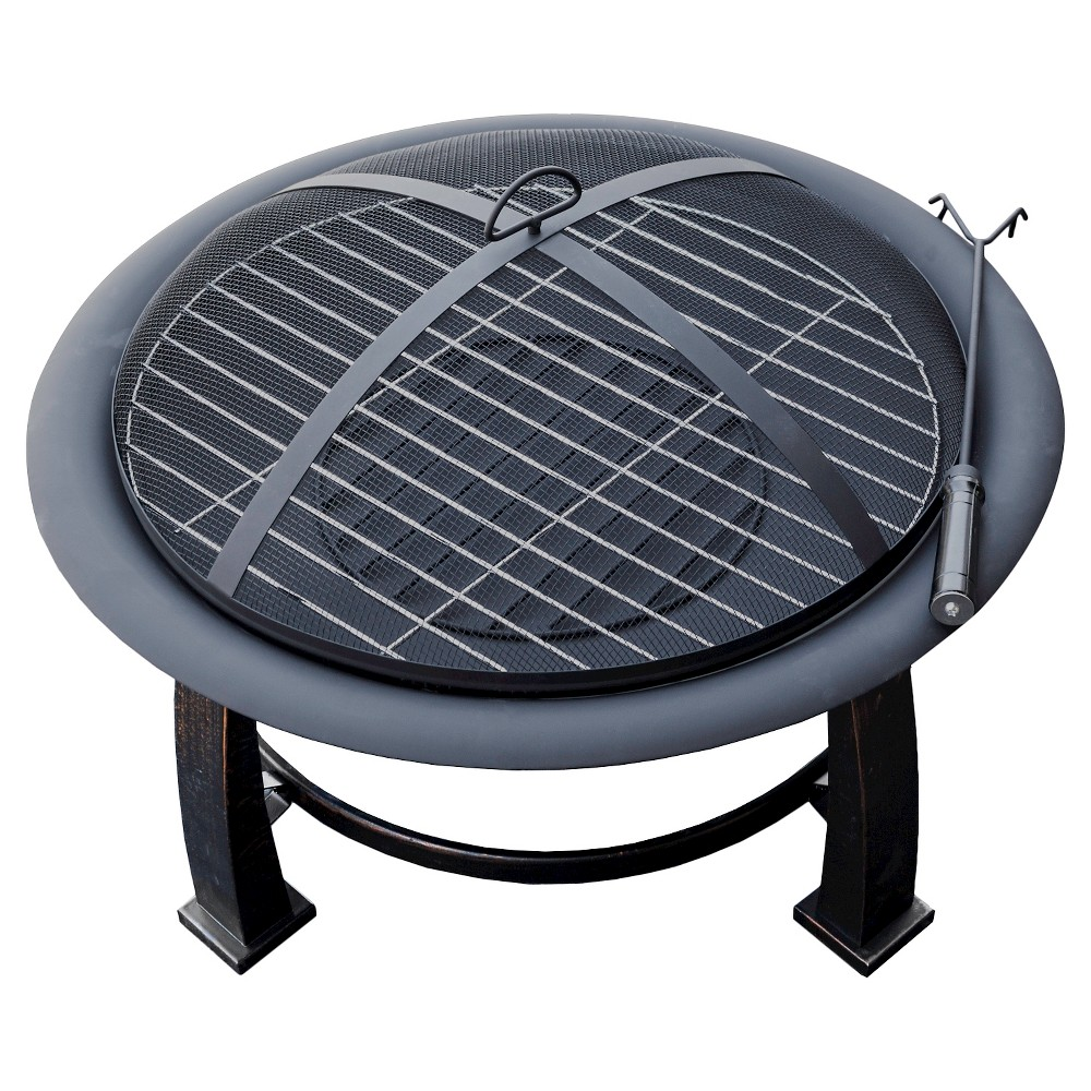 Image of AZ Patio Heaters Wood Burning Fire Pit with Cooking Grate - Matte Black