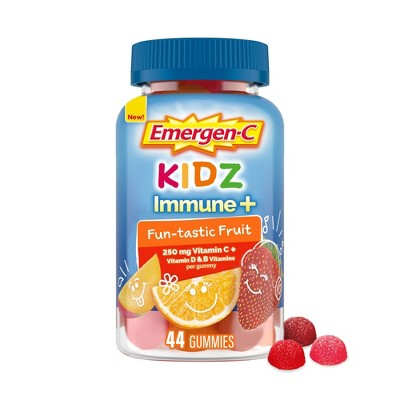 Emergen-C Kidz Immune+ Dietary Supplement Gummies with Vitamin C, B & D - Fun-tastic Fruit - 44ct