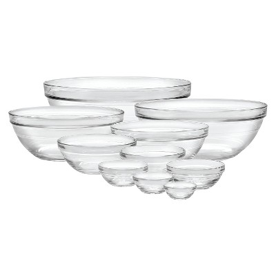 Duralex 10pc Glass Stackable Bowls - Clear