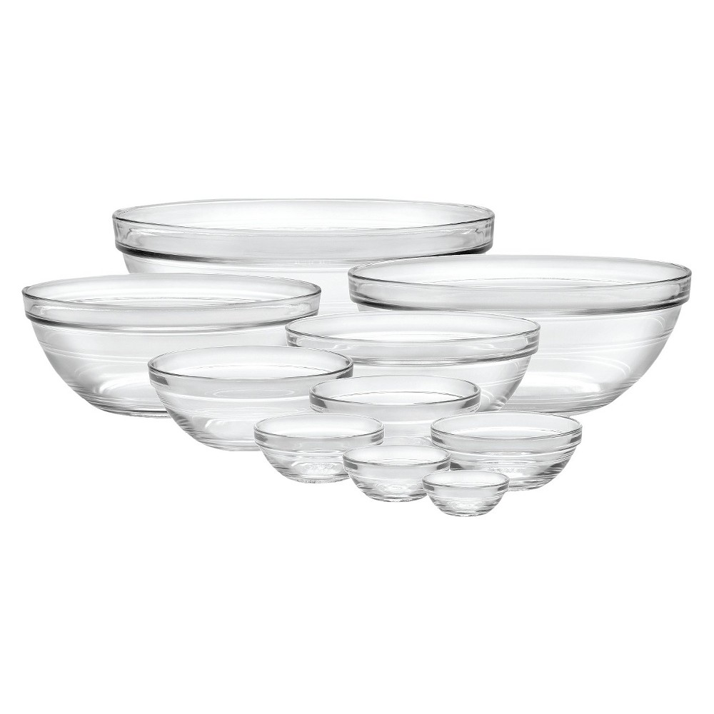 Image of Duralex 10pc Glass Stackable Bowls - Clear