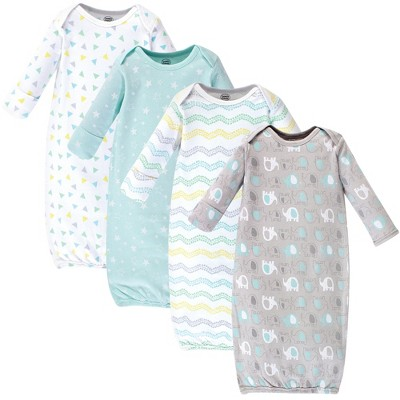 Luvable Friends Baby Cotton Long-Sleeve Gowns 4pk, Basic Elephant, 0-6 Months