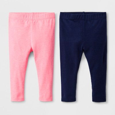 Baby Girls' 2pk Leggings Set - Cat & Jack™ Nightfall Blue/Bali Pink 6-9M