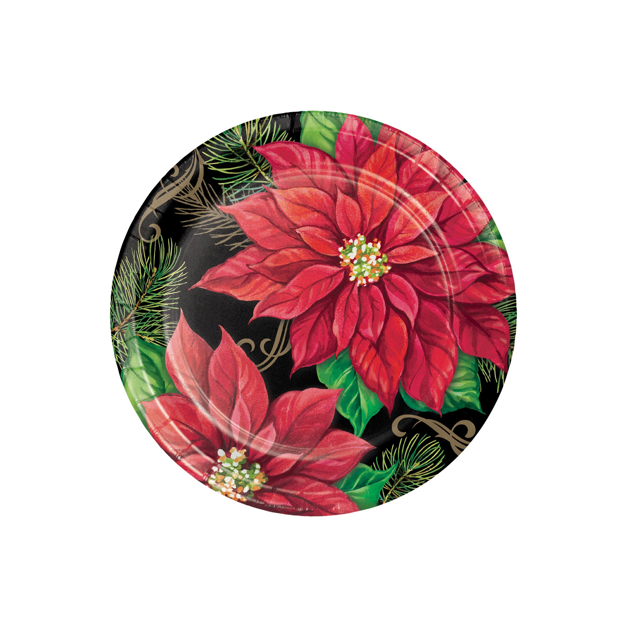 Posh Poinsettia Paper Banquet Plates Red