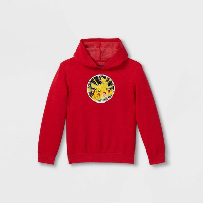 Boys' Pokemon Pika Flip Sequin Hooded Sweatshirt - Red