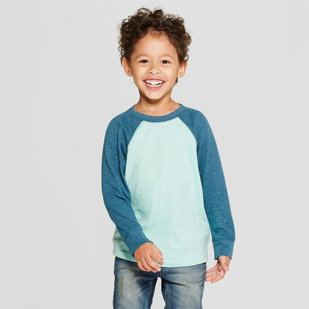 Toddler Boys' Thermal Raglan Long Sleeve T-Shirt - Cat & Jack Green 18M, Blue