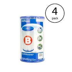 Intex Swimming Pool Easy Set Type B Replacement Filter Pump Cartridge (4 Pack)
