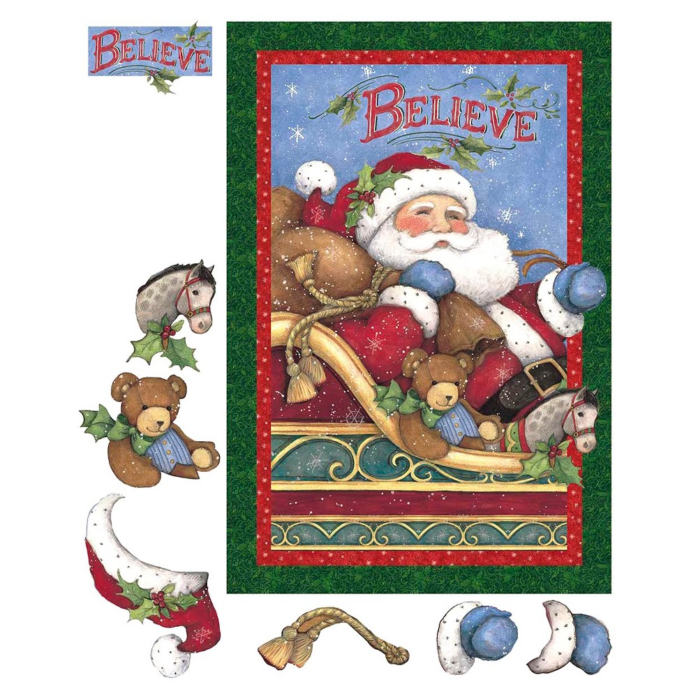 I Believe In Santa Panel, Red, 100% Cotton, 43/44 Width, Fabric by the Yard