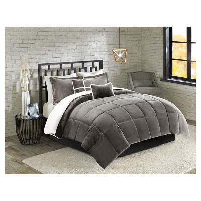 Grey Solid Velvet to Sherpa Reversible Comforter Set (Queen)5pc