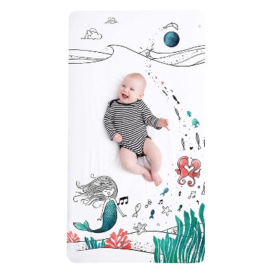 """JumpOff Jo Fitted Crib Sheet, Cotton Crib Sheet for Standard Sized Crib Mattresses, Hypoallergenic and Breathable, 28"""" x 52"""",  Moonlight Mermaid"""