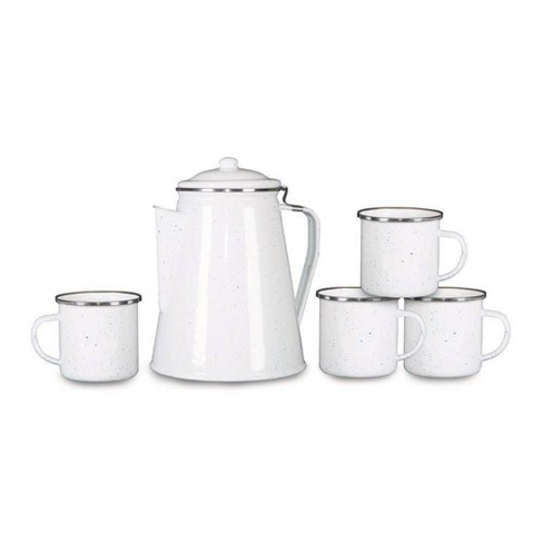 Stansport Enamel Percolator Coffee Pot with 4 Mugs - White - image 1 of 2