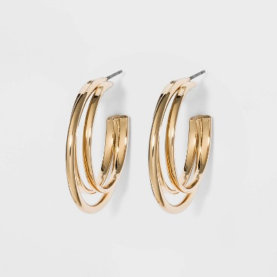 Metal Double Hoop Earrings - A New Day™ Gold