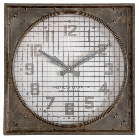 Warehouse Grill Wall Clock Rusty Iron - Uttermost® - image 1 of 2