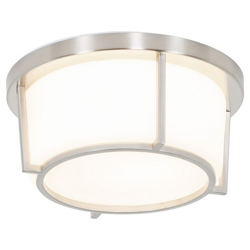 Smart 1-Light LED Small Flush Mount with Opal Glass Shade - Satin Nickel - Rogue Dcor - image 1 of 3