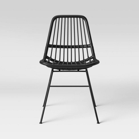 Linnet Rattan Dining Chair With Metal Legs Black Opalhouse Target