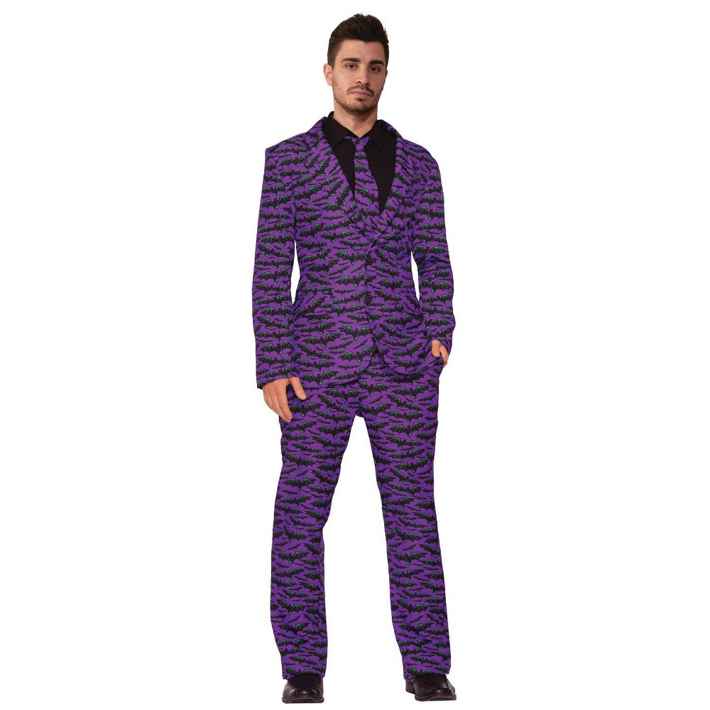 Coupons Halloween Adult Bat Suit and Tie Halloween Costume Mens Size: One Size Black Purple