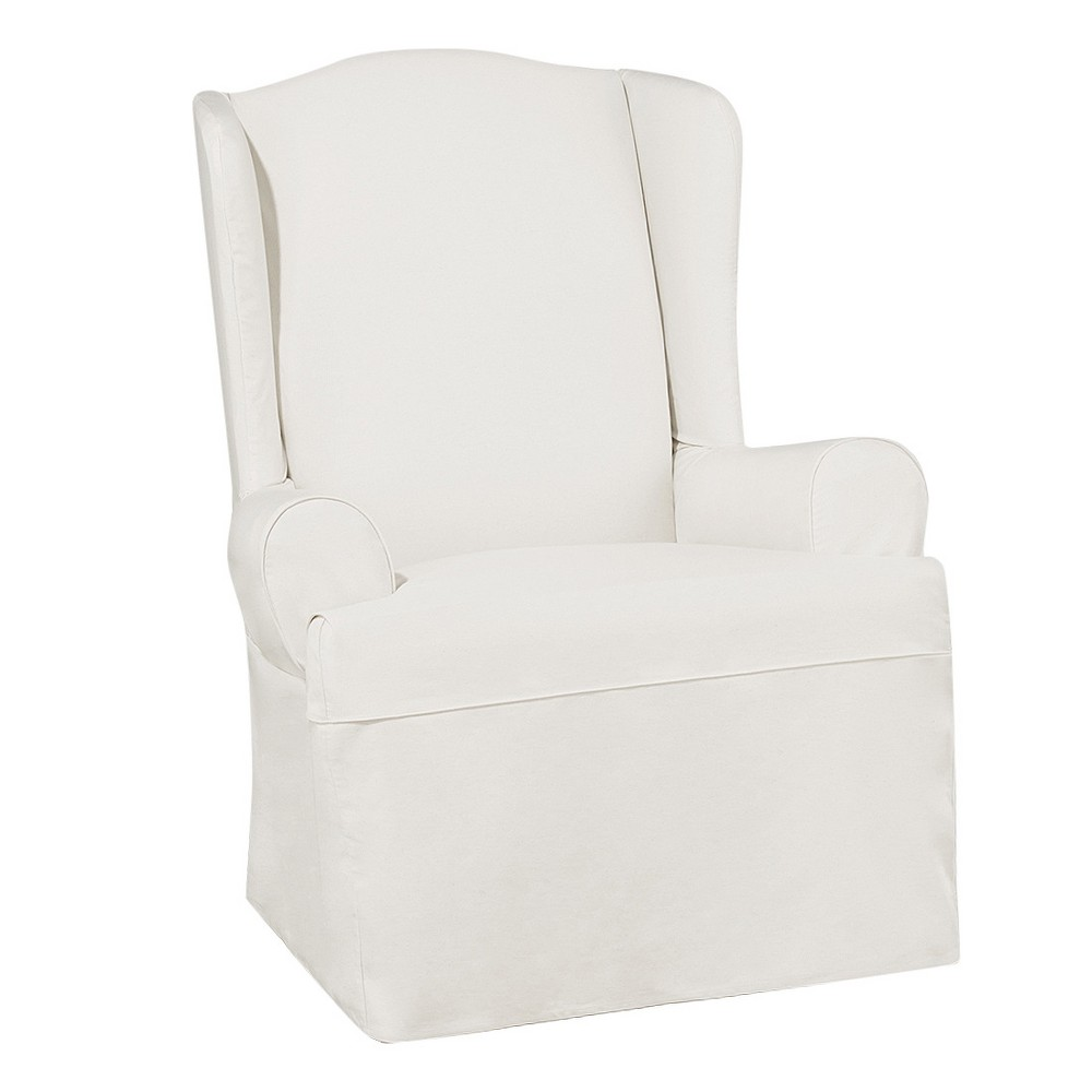 Essential Twill Wing Chair Slipcover White - Sure Fit