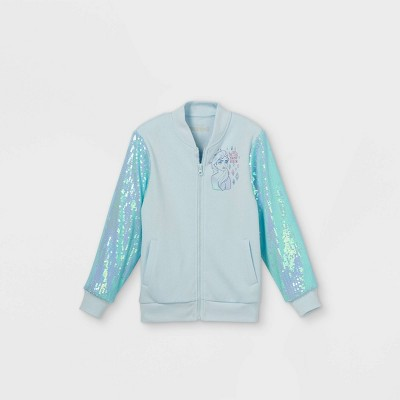 Girls' Disney Frozen Elsa Sequin Bomber Jacket - Blue
