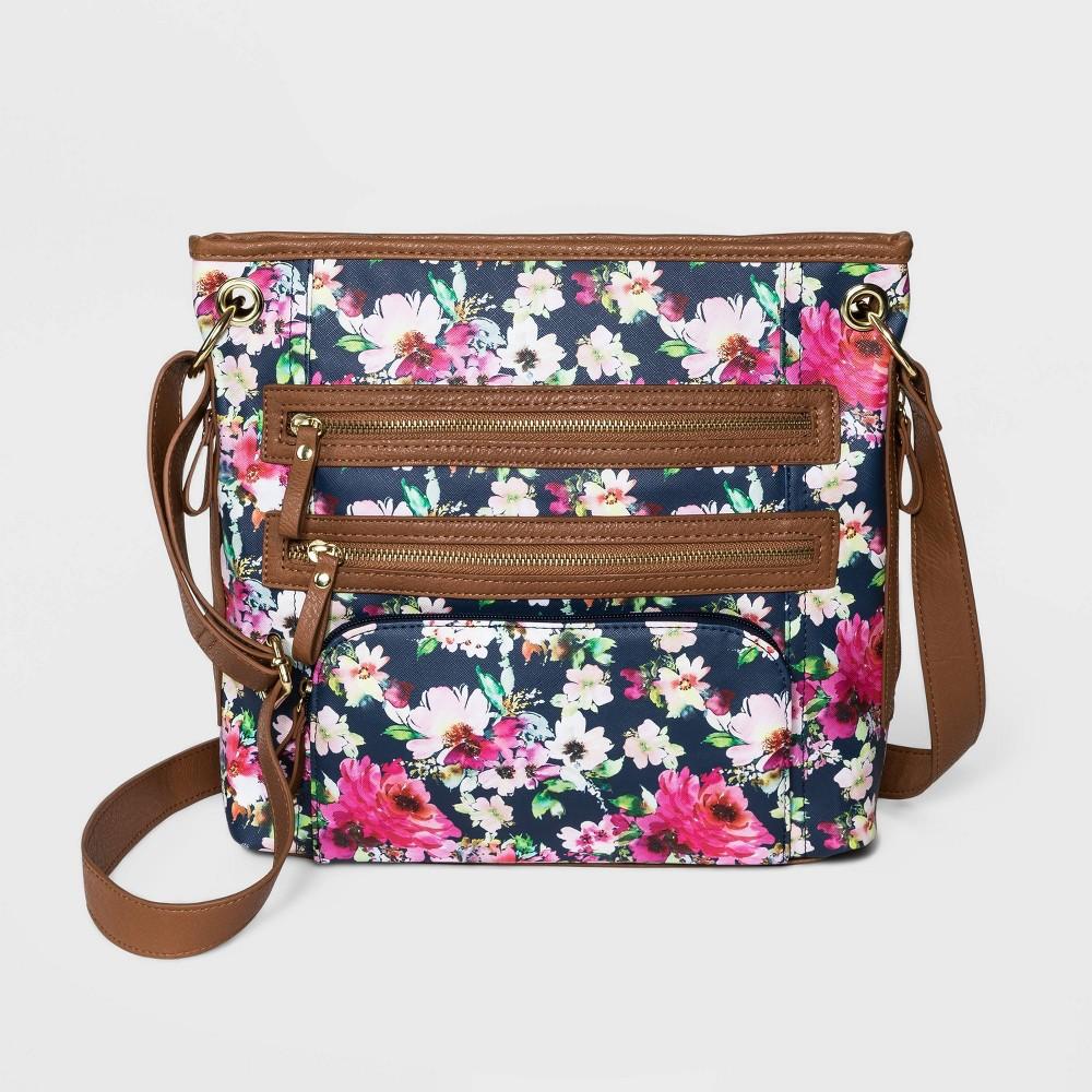 Bueno Floral Print Zip Closure Hobo Handbag Navy
