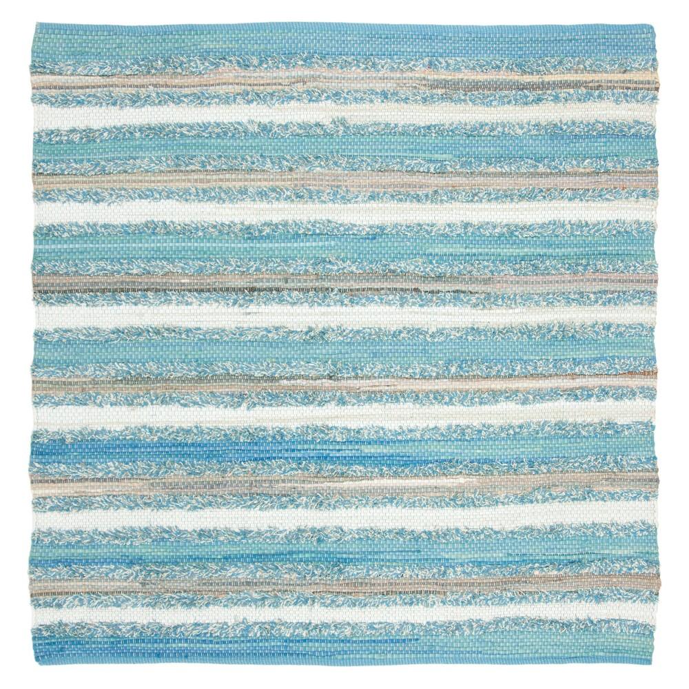 Aqua (Blue) Stripe Woven Square Area Rug 6'X6' - Safavieh