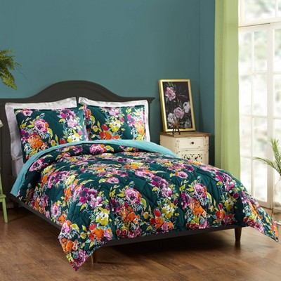 Bari J for Makers Collective Botanist Full/Queen 3pc Quilt Set Green