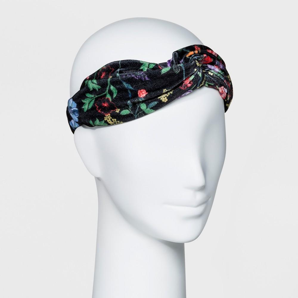 Women's Floral Print Velvet Headband - Who What Wear Black